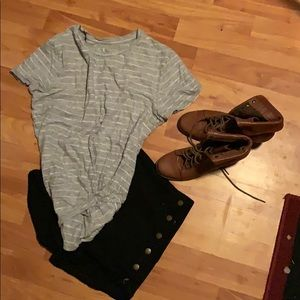 Grey stripped crew neck top with knot front!